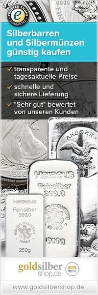 200 x 600 (Wide Skyskraper) Silberbarren und -münz